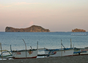one morning at dawn from the shore looking beyond the Camera Islands of Zambales
